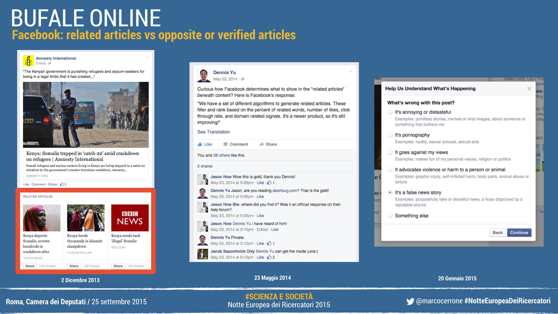 Facebook: related articles vs opposite or verified articles
