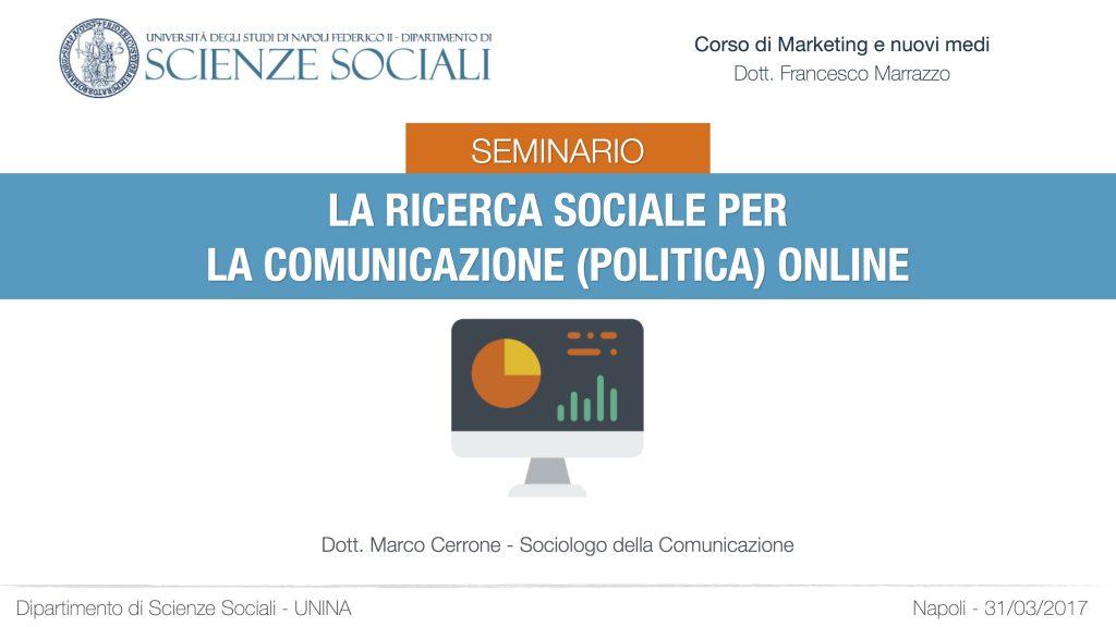 Seminario: La ricerca sociale per la comunicazione (politica) online