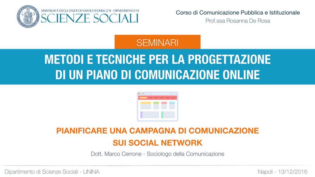 Seminario: Metodi e tecniche per la progettazione di un piano di comunicazione online